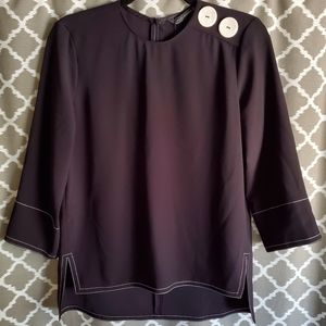 NWT Zara Woman Black Blouse White Buttons Sz XS